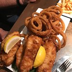 Fish Dinner w/onion rings (add $1).