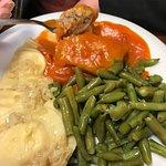 Cabbage roll, pierogi, green bean plate