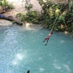tarzan in the cool water at blue hole