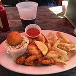 Shrimp & oyster combo, hush puppy, fries & coleslaw