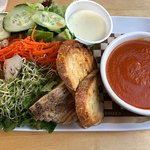 Lemongrass salad and tomato soup