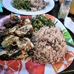 1/2 Jerk Chicken with Kalloo & Rice
