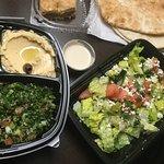 Falafel plate, el Bastia salad, backlava