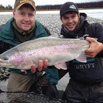 Jason and Corey with a February Rainbow - Awesome Fish !