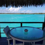 Private dining table on our water bungalow balcony