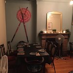 Back room dining area (set for a large party to arrive)