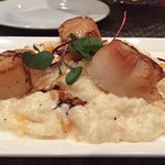 Sea scallops over butternut squash risotto