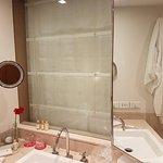 bathroom, shallow sink, mirror on the side