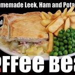 Homemade Leek, Ham and Potato Pie.
