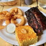 BBQ Ribs with corn bread and very good onion rings