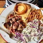 Pulled Pork Sandwich with Slaw, fries and bread