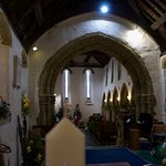 St Mary's Church interior looking rearwards during flower festival