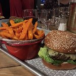 The amazing dodo burger and sweet potato fries!