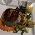 Chilean Seabass Parmesan Crust, Roasted Red Pepper Béchamel, Pesto Risotto