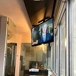 Tv looking towards bathroom