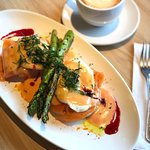 Weekend Brunch Special ~ Smoked Salmon Eggs Benny w Asparagus and Blood Orange Hollandaise