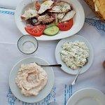 grilled octopus, tzatiki, taramasalata