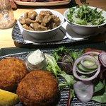 fish cakes, salad and mushrooms