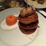 Pumpkin pancakes - creme fraiche, bananas, bacon YUMM