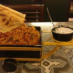mutton biriyani well presented in cart