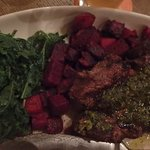 steak with geera topping; kale and purple potatos