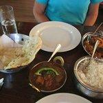 Lamb vindaloo, Aaloo Baingan, rice, naan