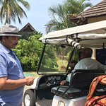 Battery operated Buggy drops and pick up the guests to and fro the Jetty