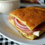 Turkey, Ham & Cheese Kornbread Sandwich