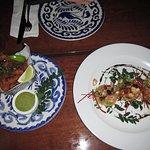 Appetizers of calamari and lobster tostadas