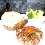 chopped steak, baked potato, broccoli
