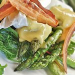Grilled Green Asparagus with Crispy Pancetta and a Poached Egg, served with Hollandaise Sauce