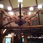 The chandelier...