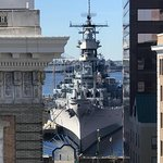 Rooftop views overlooking the battleship, Wisconsin at nearby Nauticas