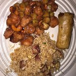 Chicken with cashews, pork fried rice, spring roll