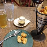 PJ's own White Ale and Fried Cheese Curds