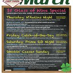 Our special march 2018 event menu!