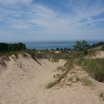 Lake Michigan from atop the dunes (about a mile up the beach from the swimming area)