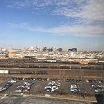 Downtown Newark from room window. Could not hear trains.