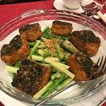Homemade Tofu with Asparagus.