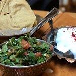 Wild Thyme Salad & Stuffed Eggplant with Yoghurt.