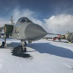 Winter at the Museum, Cols War Jets in the snow.