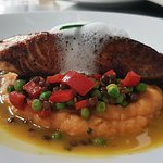 Fresh salmon steak with sweet potato mash