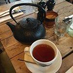 Loose leaf breakfast tea from a cast iron Japanese tea pot