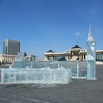 Ice sculpture in Chinggis Khaan Square