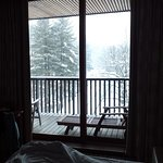 a view from the bed over the balcony