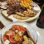 Mix Meat Plate and Greek Salad.