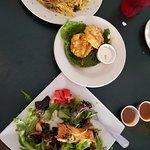 Salmon salad, fried green tomatoes,chicken marsala