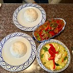 Panang curry beef (above) and green curry chicken (below)