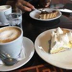 Coffee, lemon pie & chocolate pie