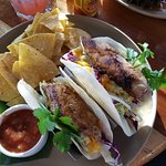 Fish Tacos and chips. Very good, and I really liked the chips that came with it